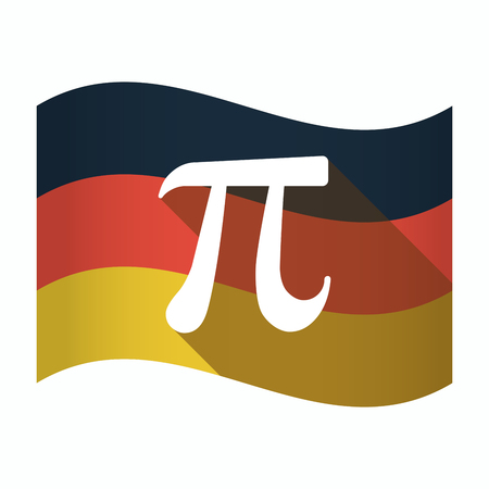 constant: Illustration of an isolated Germany waving flag with the number pi symbol Illustration