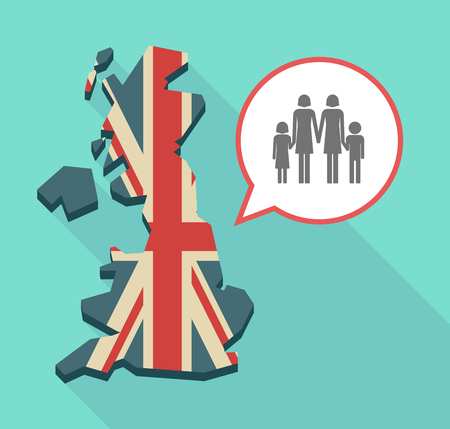 Illustration of an isolated long shadow United Kingdom map with its flag and a lesbian parents family pictogram