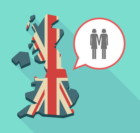 Illustration of an isolated long shadow United Kingdom map with its flag and a lesbian couple pictogram