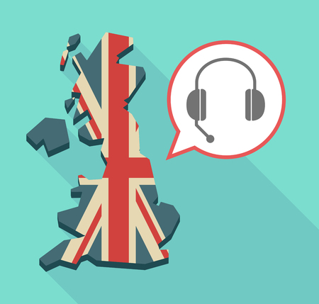Illustration of an isolated long shadow United Kingdom map with its flag and  a hands free phone device Illustration