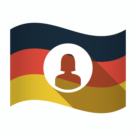Illustration of an isolated Germany waving flag with a female avatar