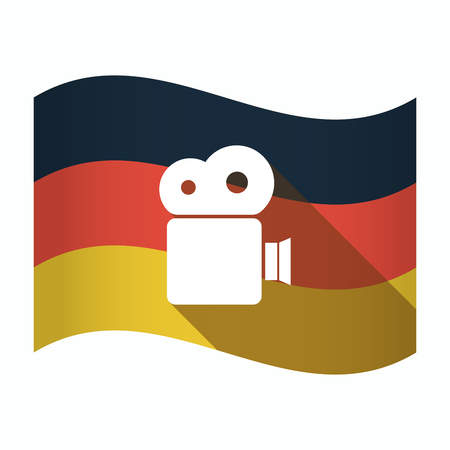 Illustration of an isolated Germany waving flag with a film camera