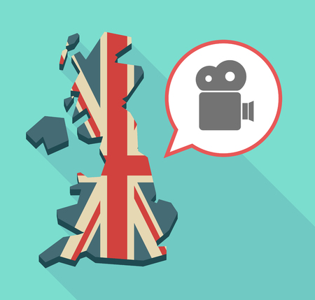 Illustration of an isolated long shadow United Kingdom map with its flag and a film camera Illustration