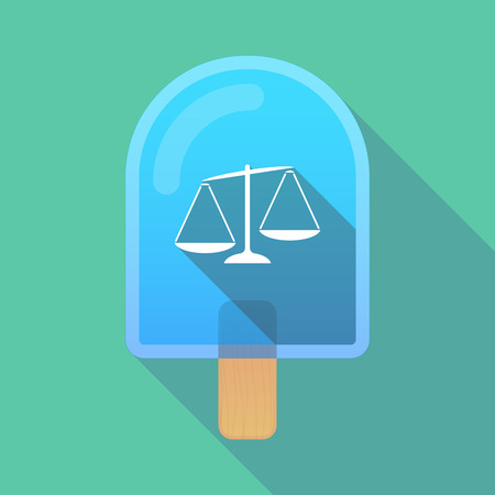 Illustration of an isolated long shadow ice cream with  an unbalanced weight scale