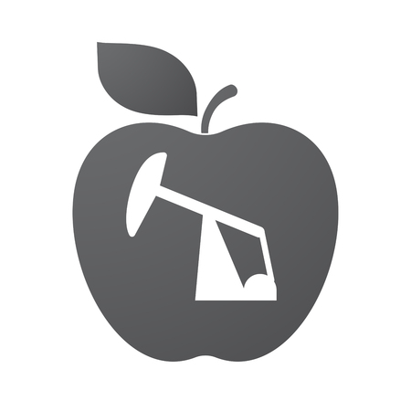 horsehead pump: Illustration of an isolated apple fruit with a horsehead pump
