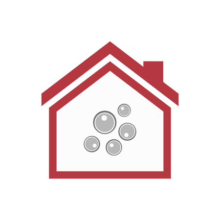 Illustration of an isolated lineart house with oocytes Illustration