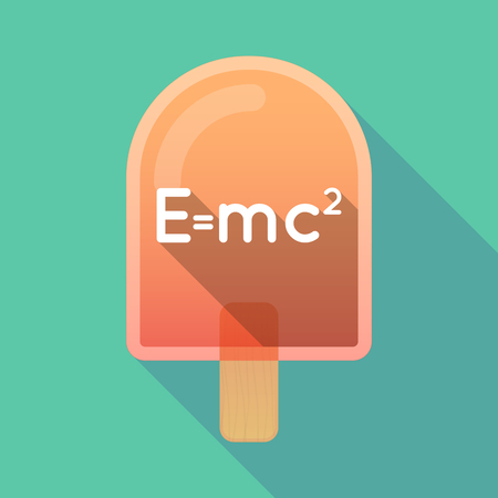 Illustration of an isolated long shadow ice cream with the Theory of Relativity formula