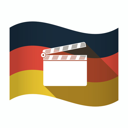 Illustration of an isolated Germany waving flag with a clapperboard