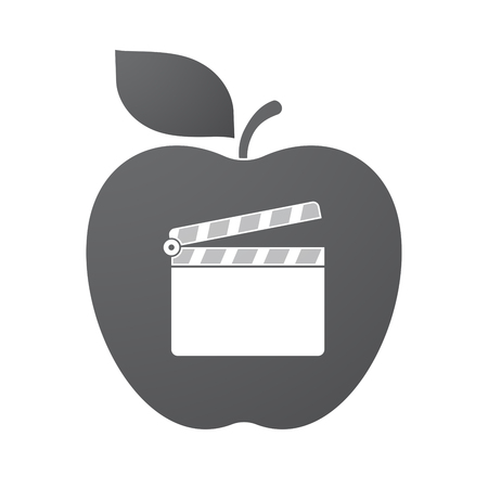 Illustration of an isolated apple fruit with a clapperboard Illustration