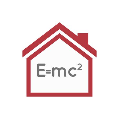 Illustratie van een geïsoleerd linearthuis met de relativiteitstheorie-formule Stock Illustratie