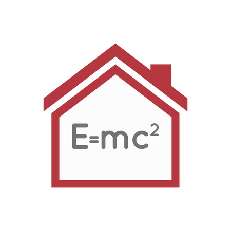 Illustration of an isolated lineart house with the Theory of Relativity formula Illustration