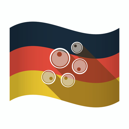 insemination: Illustration of an isolated Germany waving flag with oocytes