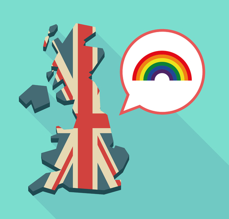 Illustration of an isolated long shadow United Kingdom map with its flag and a rainbow Illustration