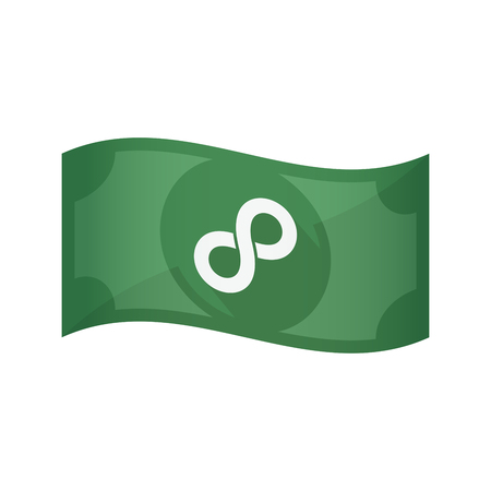investment concept: Illustration of an isolated waving bank note with an infinite sign