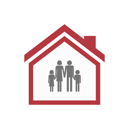 Illustration of an isolated lineart house with a conventional family pictogram 向量圖像