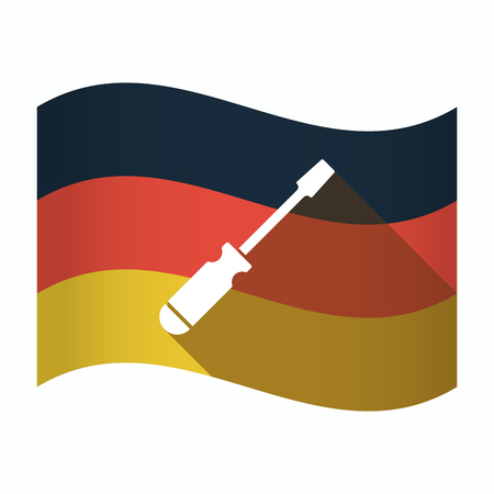 Illustration of an isolated Germany waving flag with a screwdriver Illustration