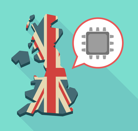 Illustration of an isolated long shadow United Kingdom map with its flag and a cpu Illustration