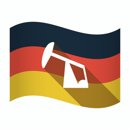 Illustration of an isolated Germany waving flag with a horsehead pump Illustration