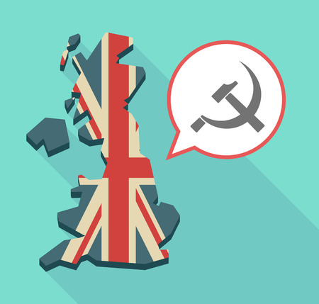 Illustration of an isolated long shadow United Kingdom map with its flag and  the communist symbol
