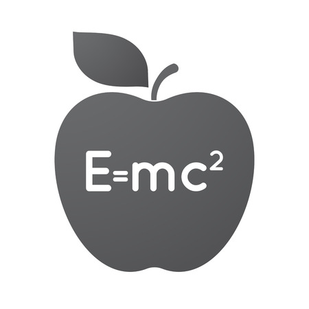 Illustration of an isolated apple fruit with the Theory of Relativity formula