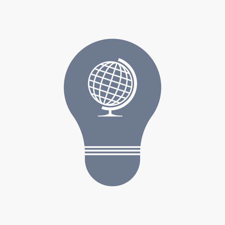 Illuatration of an isolated light bulb icon with  a table world globe