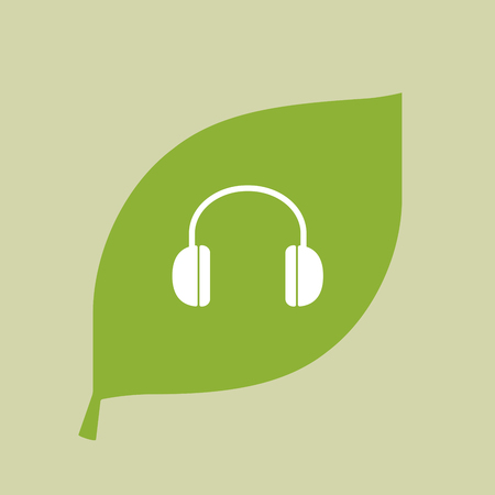earphone: Illustration of a vector green leaf icon with a earphones