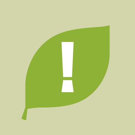 감탄 부호가있는 벡터 녹색 잎 아이콘의 그림