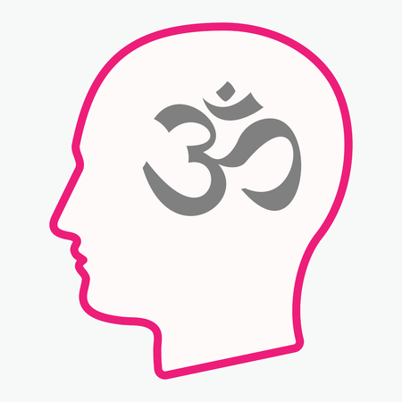 Illustration of an isolated  line art male head with an om sign Illustration