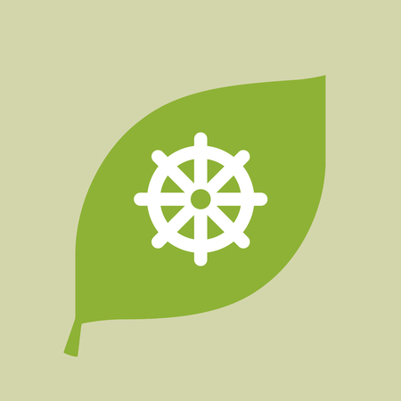 Illustration of a vector green leaf icon with a dharma chakra sign