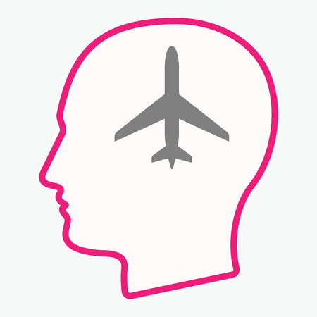 Illustration of an isolated  line art male head with a plane