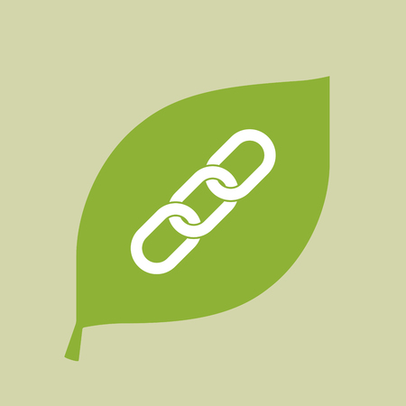 Illustration of a vector green leaf icon with a chain Illustration