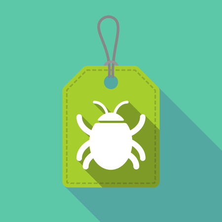 Illustration of a long shadow product label with a bug