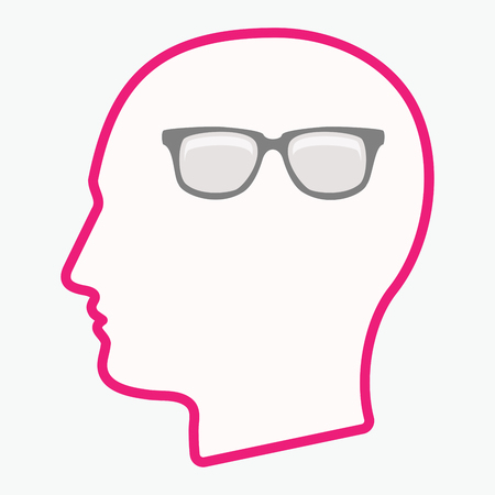Illustration of an isolated  line art male head with a glasses