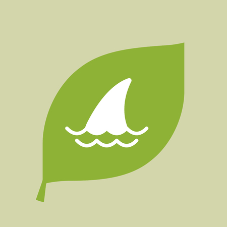great danger: Illustration of a vector green leaf icon with a shark fin