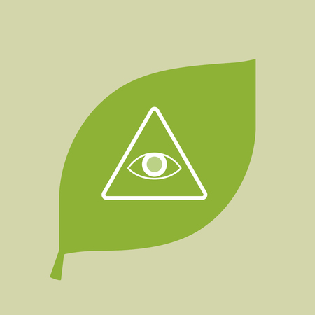 providence: Illustration of a vector green leaf icon with an all seeing eye