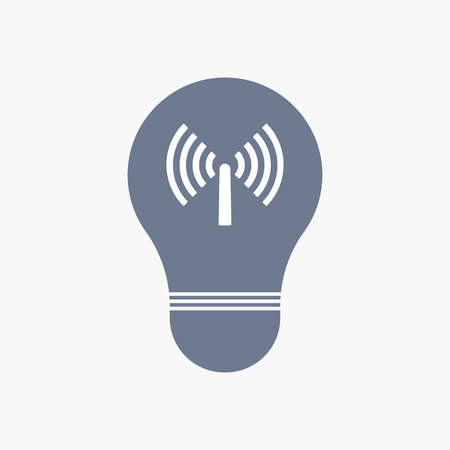 Illuatration of an isolated light bulb icon with an antenna Illustration