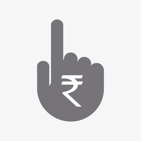 investment concept: Illustration of an isolated  pointing hand with a rupee sign