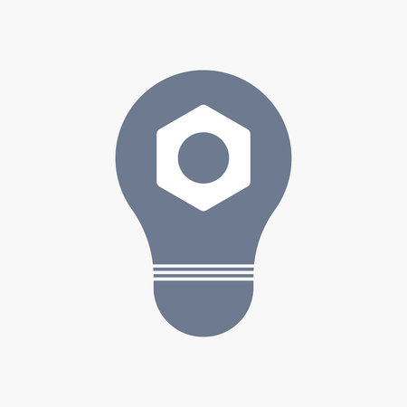 Illuatration of an isolated light bulb icon with a nut