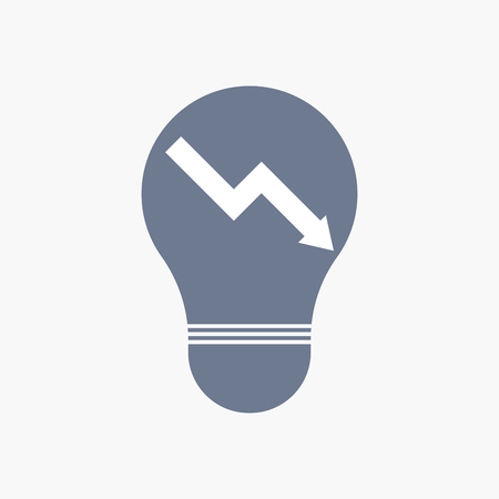 descending: Illuatration of an isolated light bulb icon with a descending graph