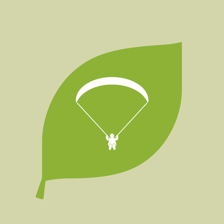 Illustration of a vector green leaf icon with a paraglider Illustration