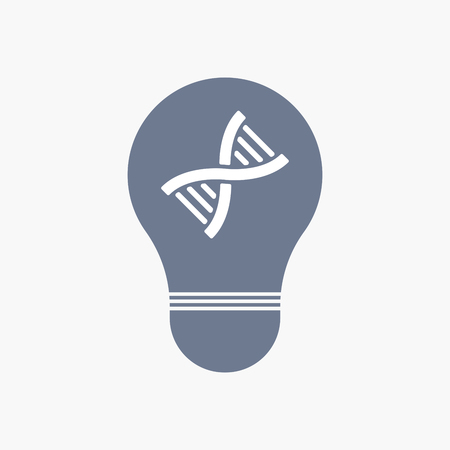Illuatration of an isolated light bulb icon with a DNA sign