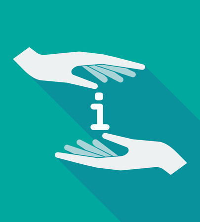 inform information: Illustration of a long shadow hands protecting an info sign