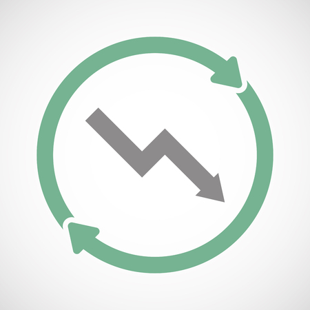 descending: Illuatration of an isolated recycle  reuse icon with a descending graph Illustration
