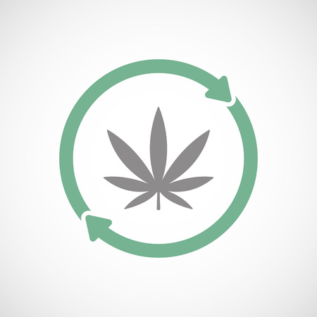 Illuatration of an isolated recycle  reuse icon with a marijuana leaf
