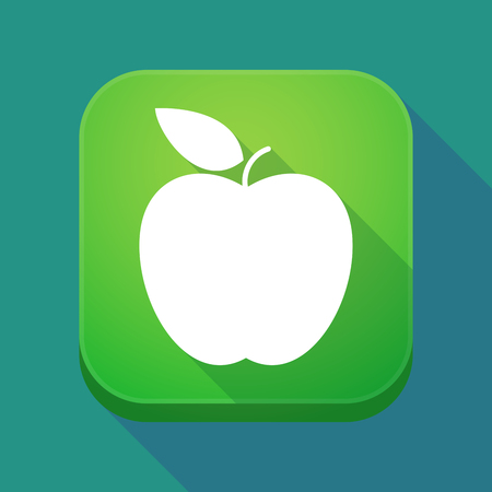 Illuatration of a long shadow app icon with an apple