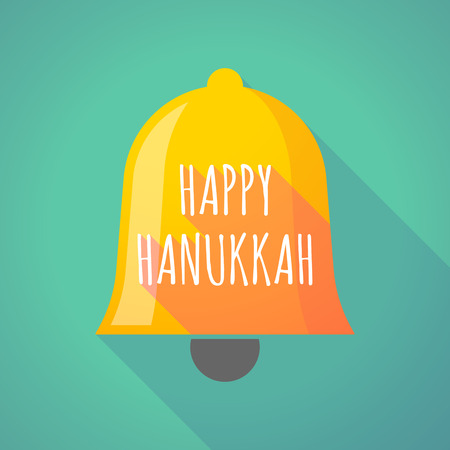 Illustration of a long shadow  bell with    the text HAPPY HANUKKAH