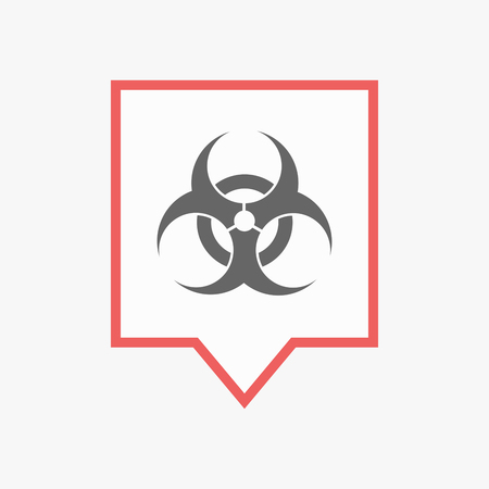 biohazard: Illuatration of an isolated line art tooltip with a biohazard sign