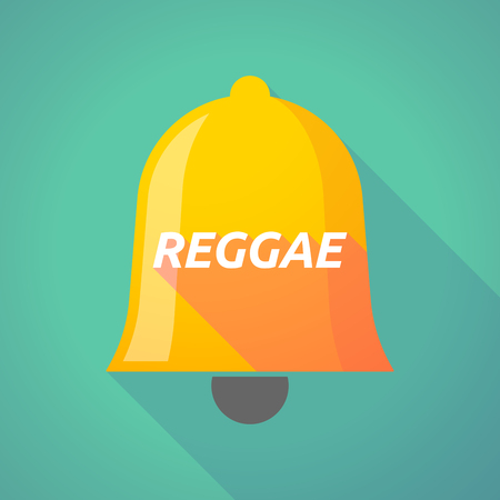 Illustration of a long shadow  bell with    the text REGGAE Illustration