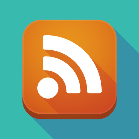 Illuatration of a long shadow app icon with an RSS sign