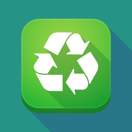 Illuatration of a long shadow app icon with a recycle sign